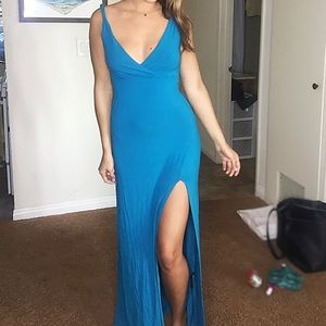 Forever 21 cute blue maxi dress with slit